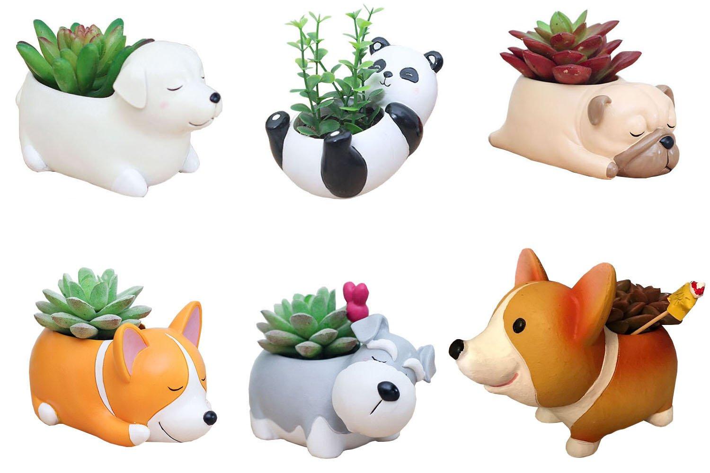6 PCS Set Cute Cartoon Animal Corgi Pug Schnauzer Panda Labrador Shaped Succulent Cactus Flower Pot/Plant Pots/Planter/Container for Home Garden Office Desktop Decoration (Plants Not Included)