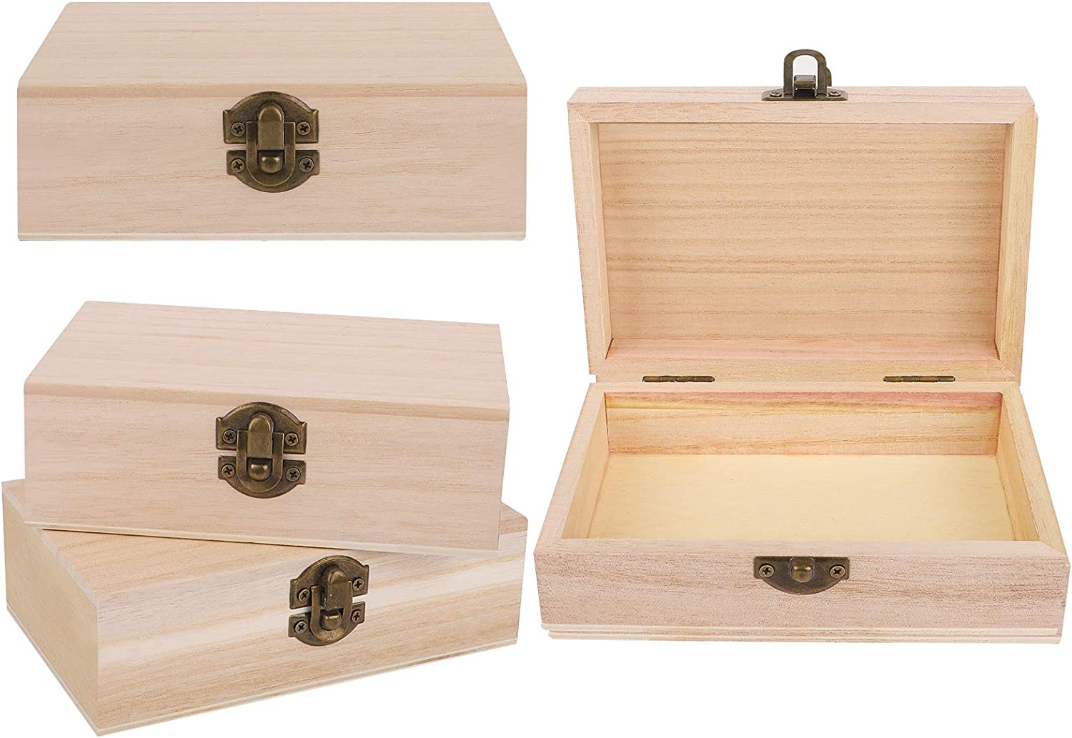 ADXCO 4 Pieces Unfinished Pine Wood Box with Hinged Lid Treasure Boxes with Locking Clasp Treasure Chest Decorate Wooden Boxes for DIY Crafting Gift Storage Box, 5.9 x 3.9 x 2 Inches