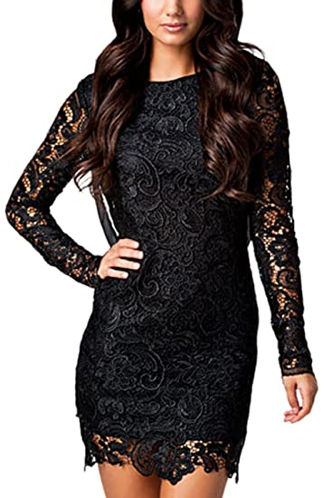81a7f0b7b6ad Women Elegant Long Sleeve Chiffon Patchwork Backless Bodycon Lace Party Dress  Black XS