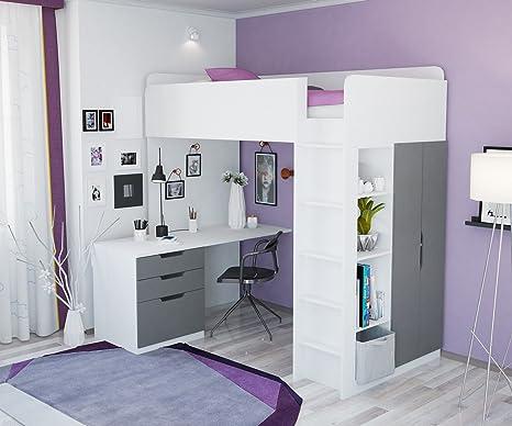 Hochbett Etagenbett Mit Schreibtisch : Polini kids kinder hochbett mit kleiderschrank und schreibtisch
