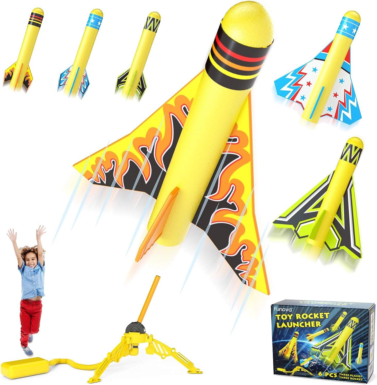 FUNOVA Lanzador de Cohetes de Juguetes para Niño - Cohete Espacial con 3 Cohetes de Espuma 3 Aviones Acrobáticos y Almohadilla de Lanzamiento Juguete Regalo para Niños y Niñas de 3 4 5 6 7 8 9 Años