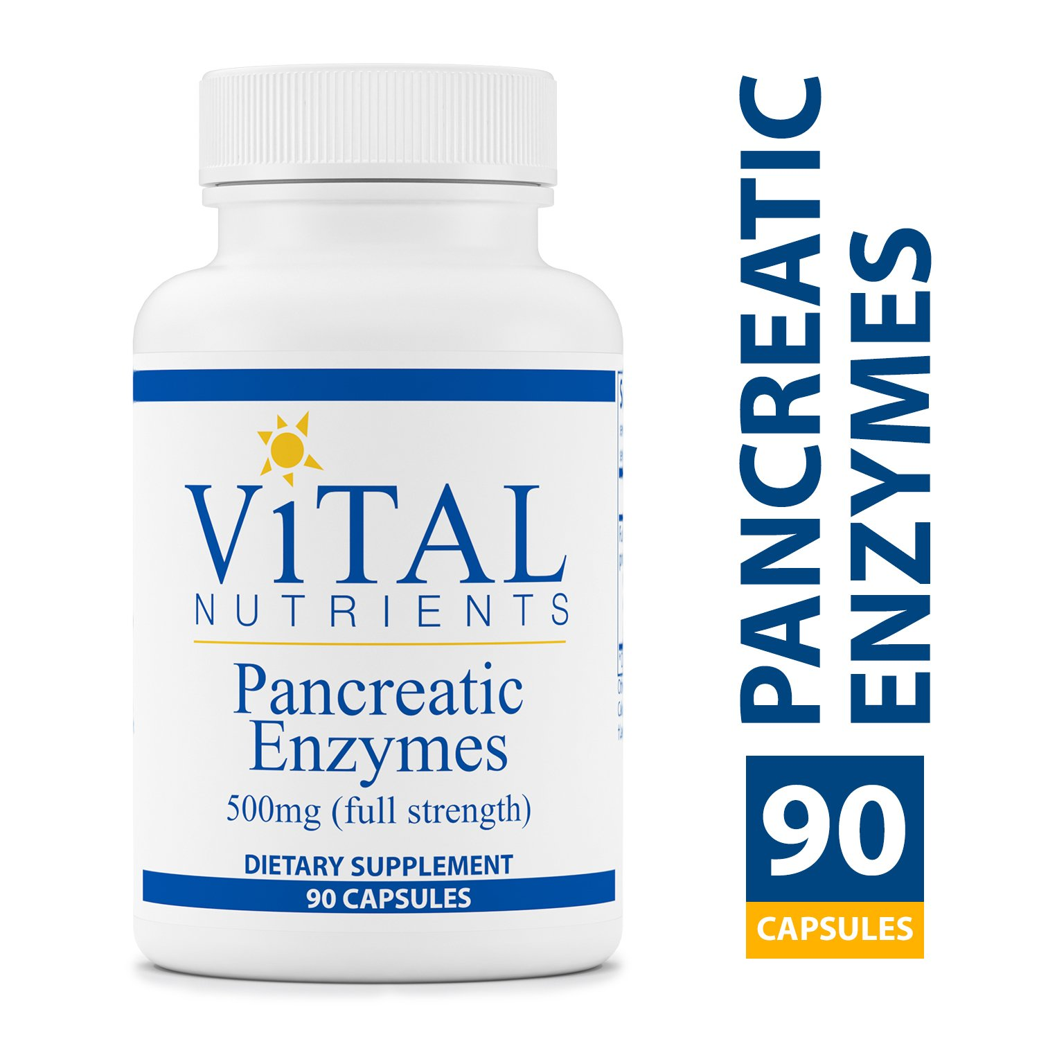 Vital Nutrients - Pancreatic Enzymes 500 mg Supplement (Full Strength) - Supports Healthy Digestion of Proteins, Fats, and Carbohydrates - Suitable for Men and Women - 90 Capsules per Bottle by Vital Nutrients