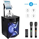 VeGue Wireless PA Speaker System for Kids and Adults with 10'' Subwoofer Bluetooth Karaoke Machine, Disco Ball, 2 UHF Wireless Microphones, Ideal for Home Party, Meeting, Wedding,Church