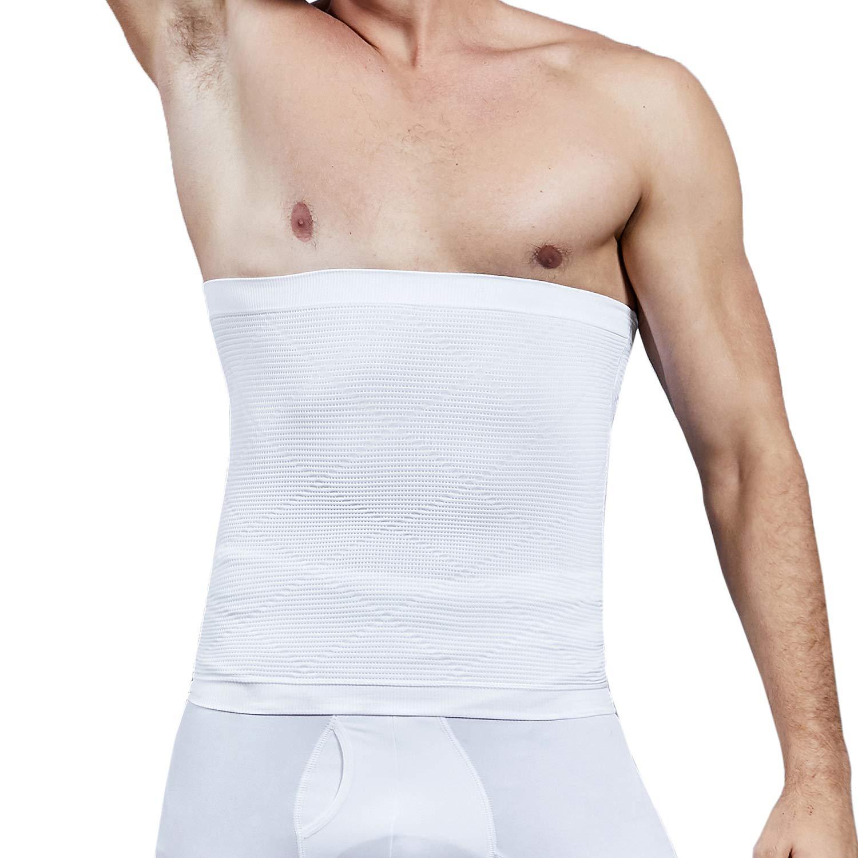 Vaslanda Men Waist Trainer Compression Abdominal Belt Tummy Control Waist Trimmer Body Shaper Workout Slimming Shapewear White L by Vaslanda