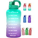 SANKUU Large 1 Gallon/128oz Gallon Water Bottle Motivational with Time Marker & Straw, Leakproof Water Jug Ensure You Drink D