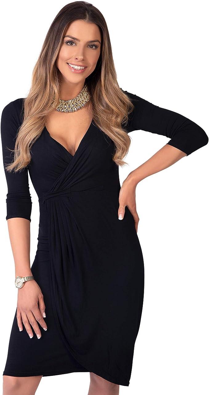 TALLA 36. KRISP Vestido Moda Mujer Fruncido Negro (6174) 36