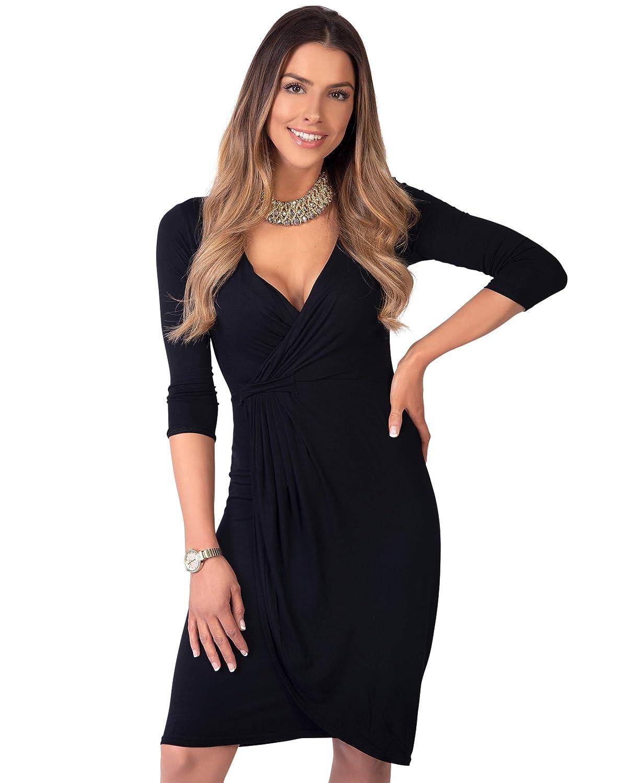TALLA 42. KRISP Vestido Moda Mujer Fruncido Negro (6174) 42
