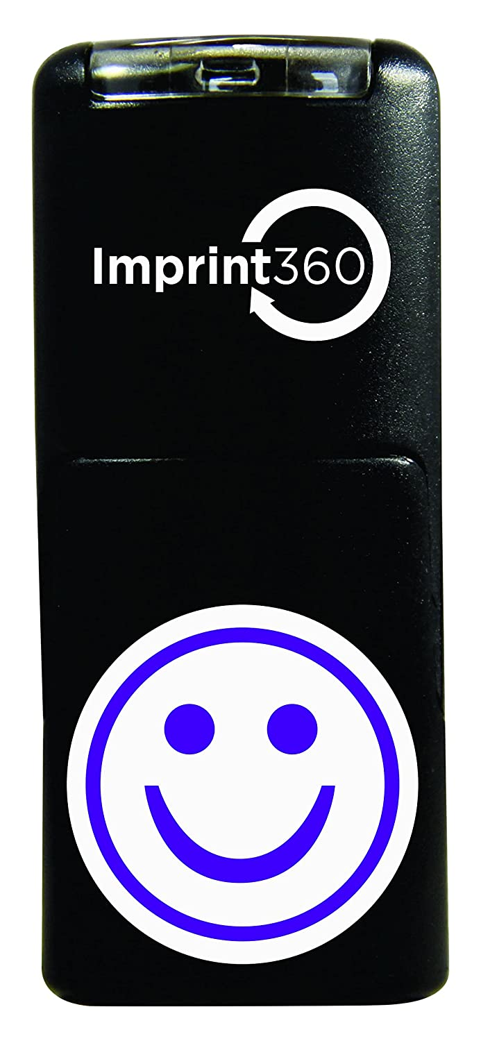 Supply360 AS-IMP2020 Round Teacher Stamp - Purple Smiley FACE, Purple Ink, Durable, Light Weight Self-Inking Stamp, 5/8