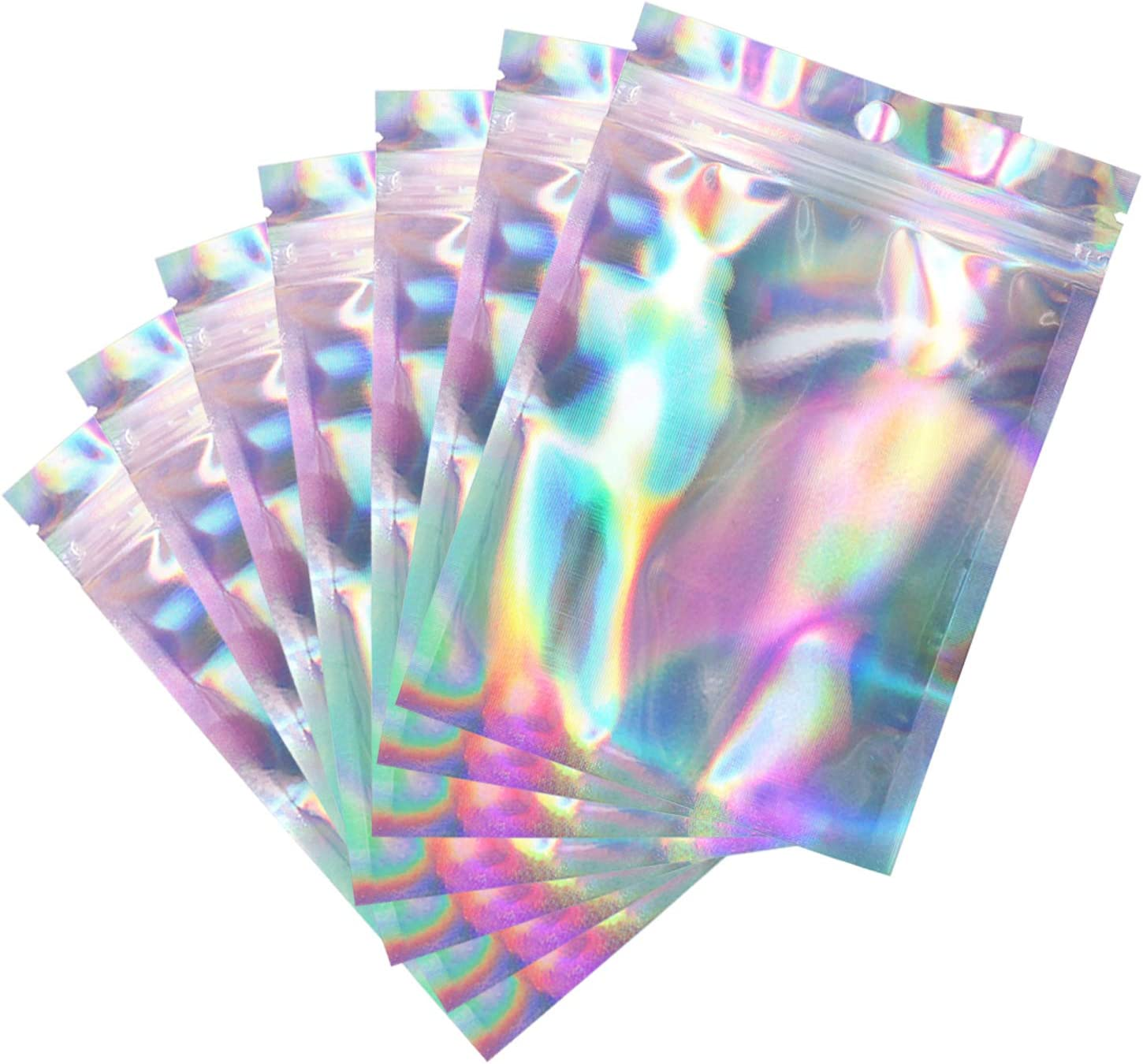 Holographic Foil Pouch Bags, 100PCS 4x6in Resealable Smell Proof Mylar Bags Rainbow Color for Food Storage Candy Wrap Coffee Bean Jewelry Lip gloss