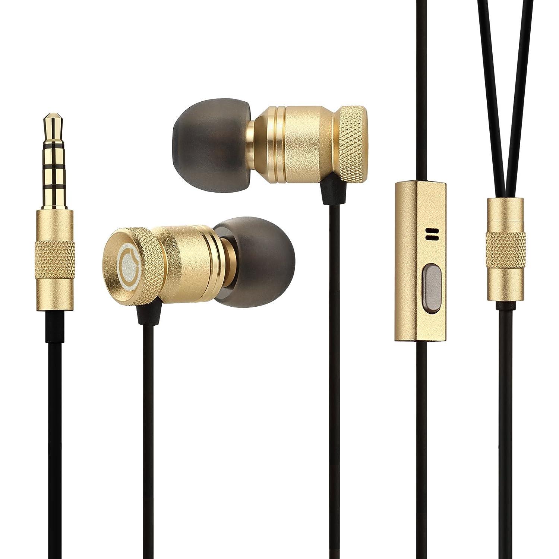 a2e9c41080f Earbuds,GGMM Nightingale Earphones Deep Heavy Bass in-Ear Ear Buds  oise-Isolating Headphone w/Microphone & Full Metal Housing Dynamic Dual  Drivers (Gold)