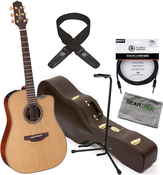 Takamine P3DC Pro Dreadnought - Guitarra acústica eléctrica con funda, soporte, cable, tela, correa: Amazon.es: Instrumentos musicales