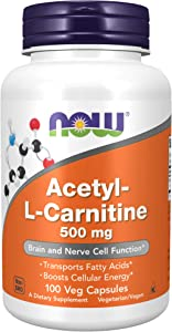 NOW Supplements, Acetyl-L Carnitine 500 mg, Amino Acid, Brain And Nerve Cell Function*, 100 Veg Capsules