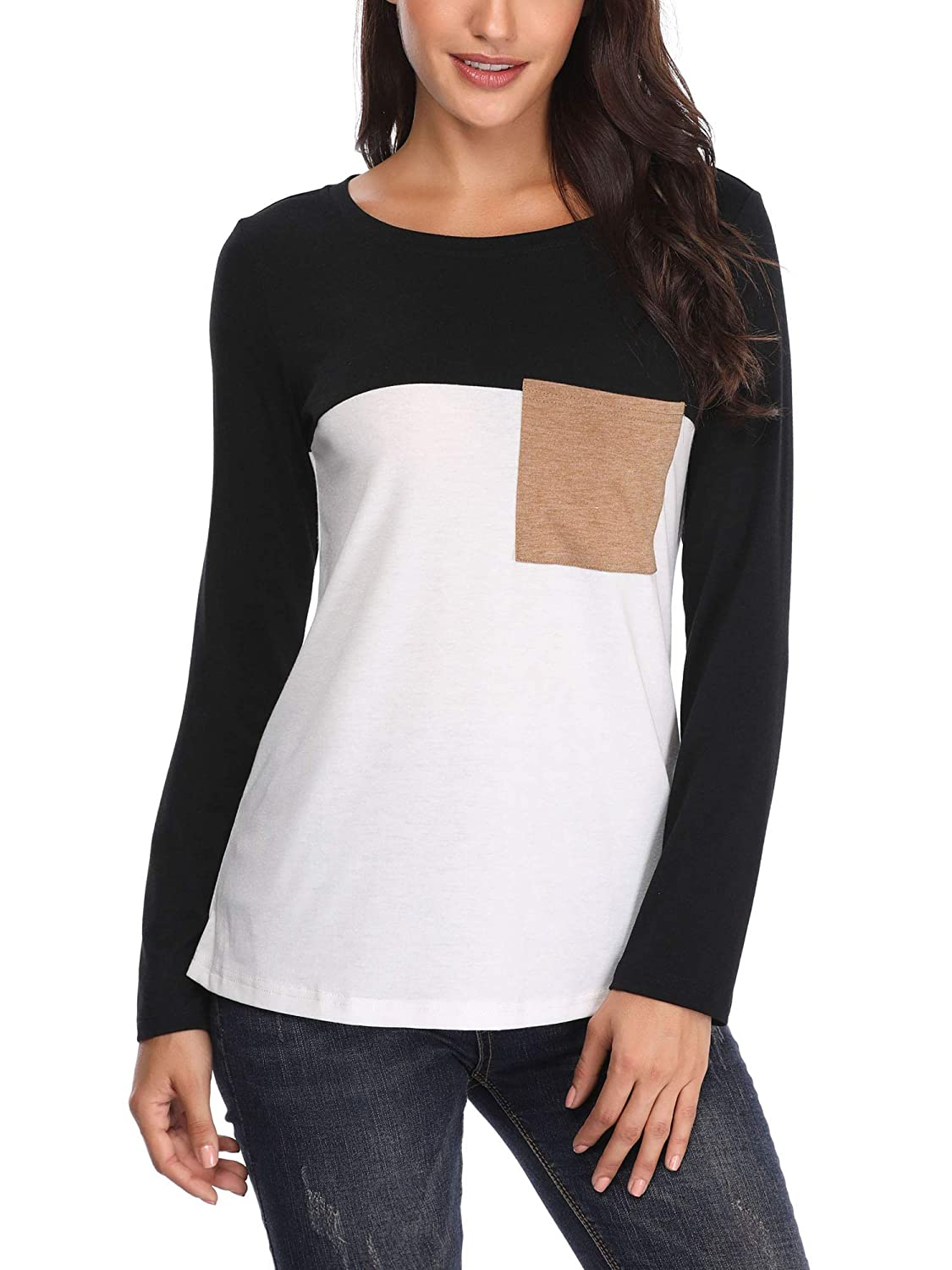 VETIOR Raglan Shirts for Women Women Casual Round Neck color Block Trendy Tee Top Blouse Black
