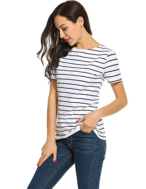 cf72c67d8e2 POGTMM Women Black and White Striped Short Sleeve T-Shirt Tops Slim Fit Stripes  Tee