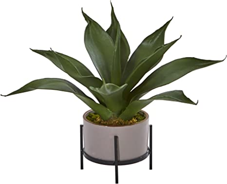 Nearly Natural 1 Agave Succulent In Planter 14 Green Home Kitchen