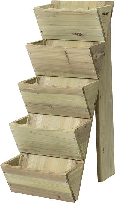 Macetero escalonado de madera, 5 niveles, de Woodside: Amazon.es: Jardín