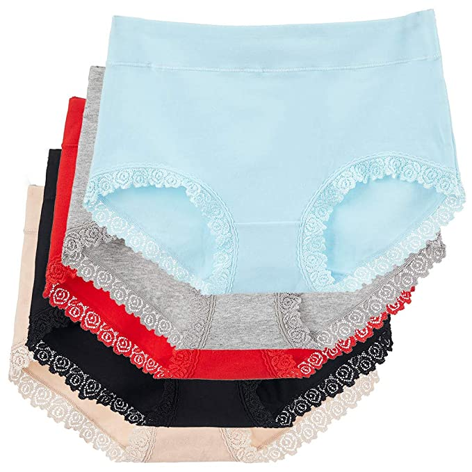 8d8224ba12a Image Unavailable. Image not available for. Color  Sujisi Women s Cotton  Underwear 5 Pack Full Briefs Sexy lace Trim ...