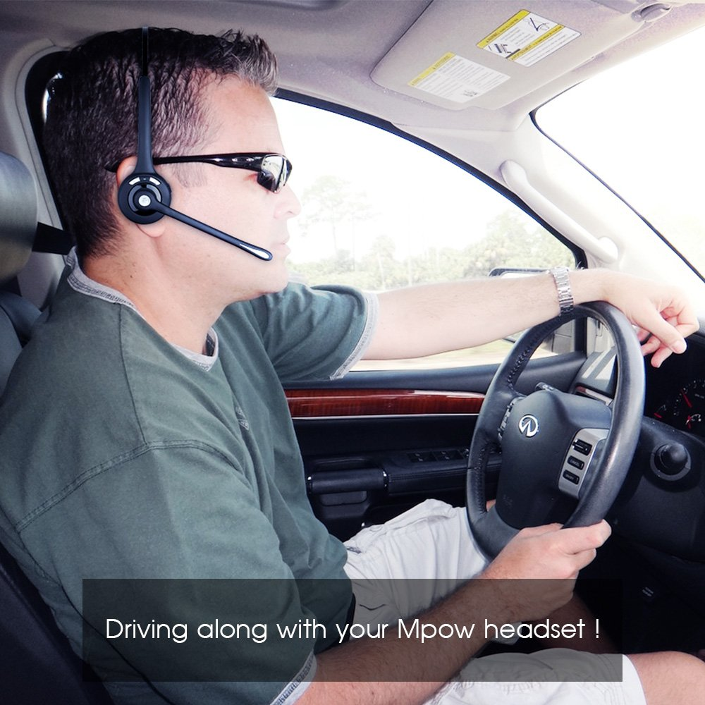 Mpow Pro Trucker Bluetooth Headset/Cell Phone Headset with Microphone, Office Wireless Headset, Over the Head Earpiece, On Ear Car Bluetooth Headphones for Cell Phone, Skype, Truck Driver, Call Center by Mpow