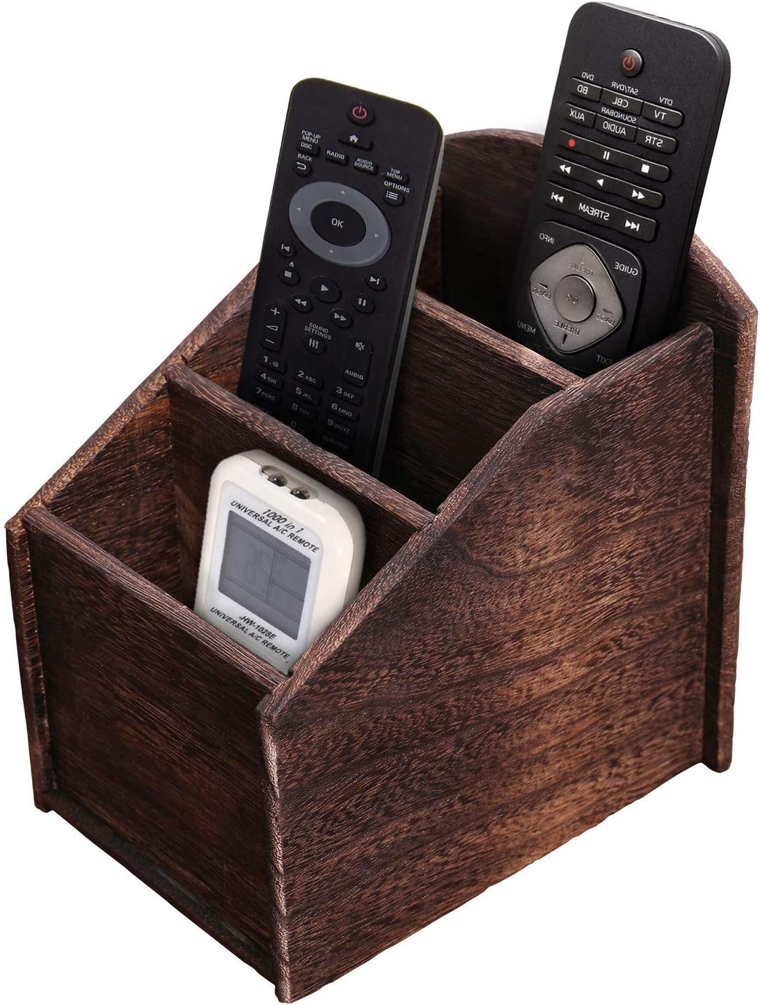 Rustic 3-Slot Wooden Remote Control Holder – Caddy Holder for Multimedia, Office or Desk Supplies – Modern Farmhouse Décor for Living Room – Distressed, Torched Brown Color