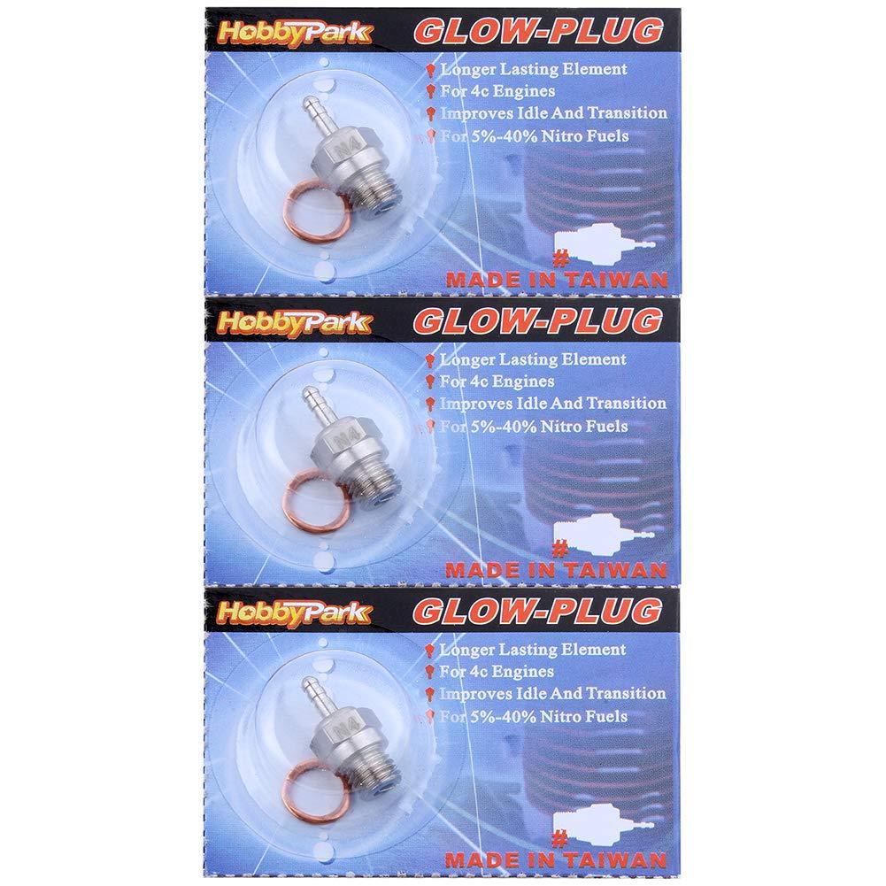 Pack of 3 Hobbypark Hot Medium Hot Glow Plugs No.3 N3 No.4 N4 ...