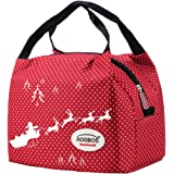 Aosbos Recycled Insulated Lunch Box Tote Cooler Bag (Christmas Red)