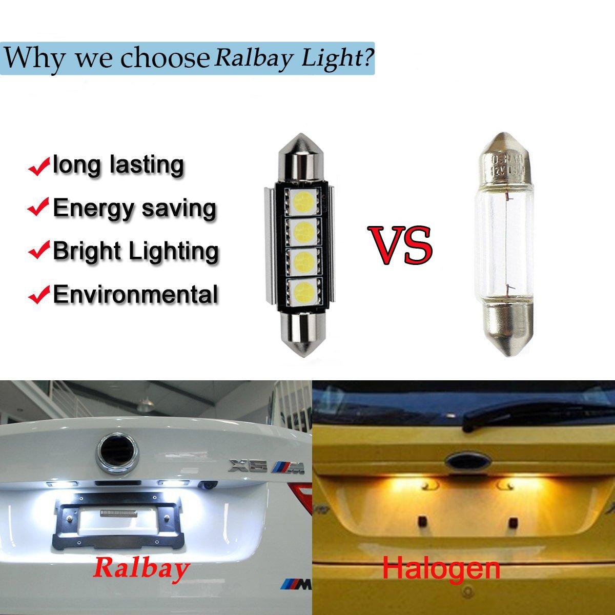 5630 6SMD W5W 194 168 2825 Feux de position Plaque Lampe Lecture Auto Voiture Int/érieur Blanc Lot de 6 Ralbay T10 LED Ampoules CANBUS Sans Erreur Voiture Lampe 12V