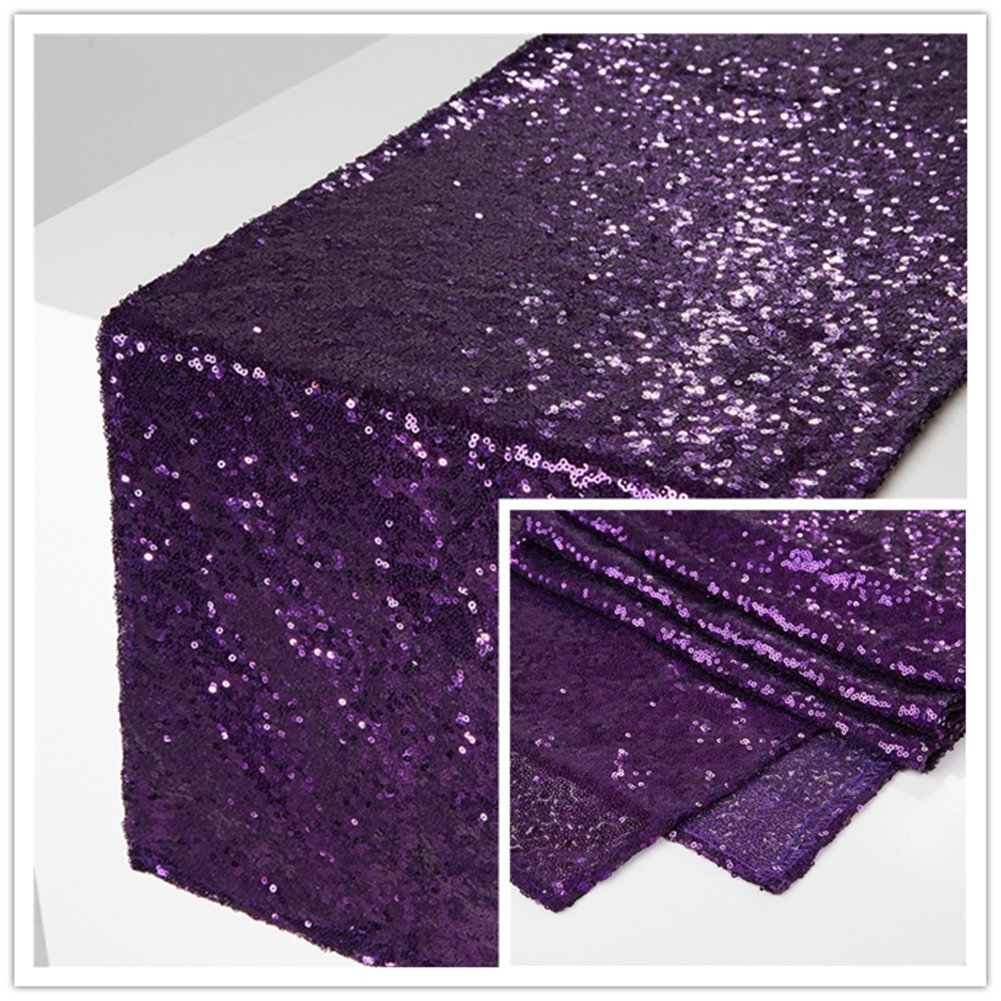 Zdada Purple 12''x108'' Dining Room Sequin Table Runner-5 Packed