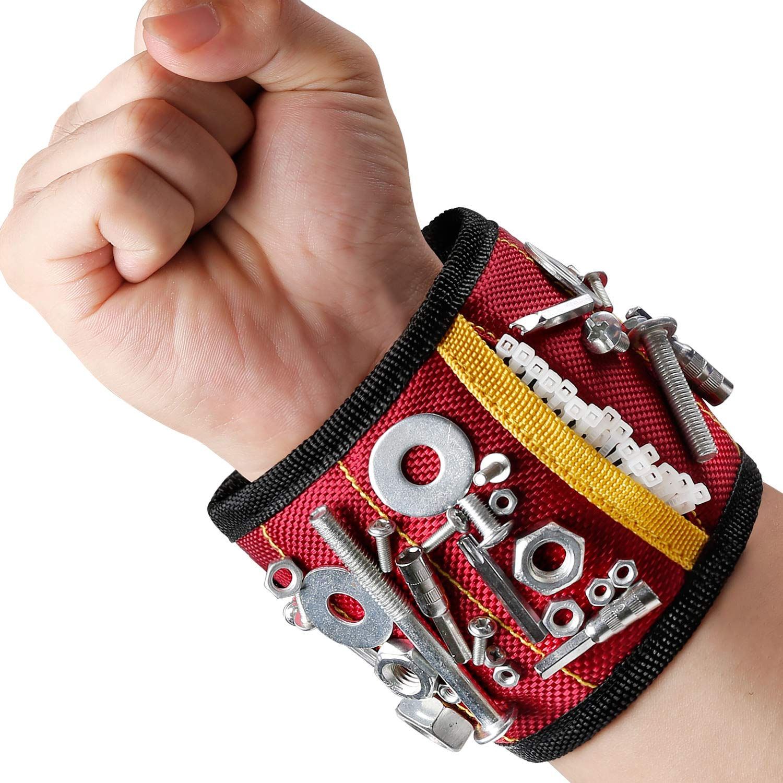 MYCARBON Bracelet magnétique avec 10 aimants puissants forts pour les vis de maintien, clous, trépans de forage, 2 sacs de rangement invisibles, Pratiquement être porté d'une main trépans de forage