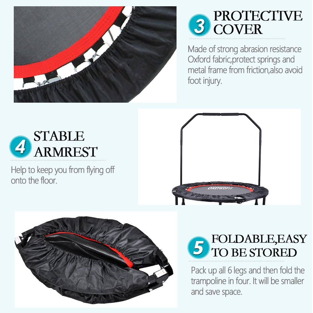 OneTwoFit 40'' Indoor Trampoline with Handrail,Foldable Fitness Trampoline for Adults,Rebounder Trampoline Exercise Trampoline for Indoor/Garden/Workout Cardio OT017 by ONETWOFIT (Image #6)