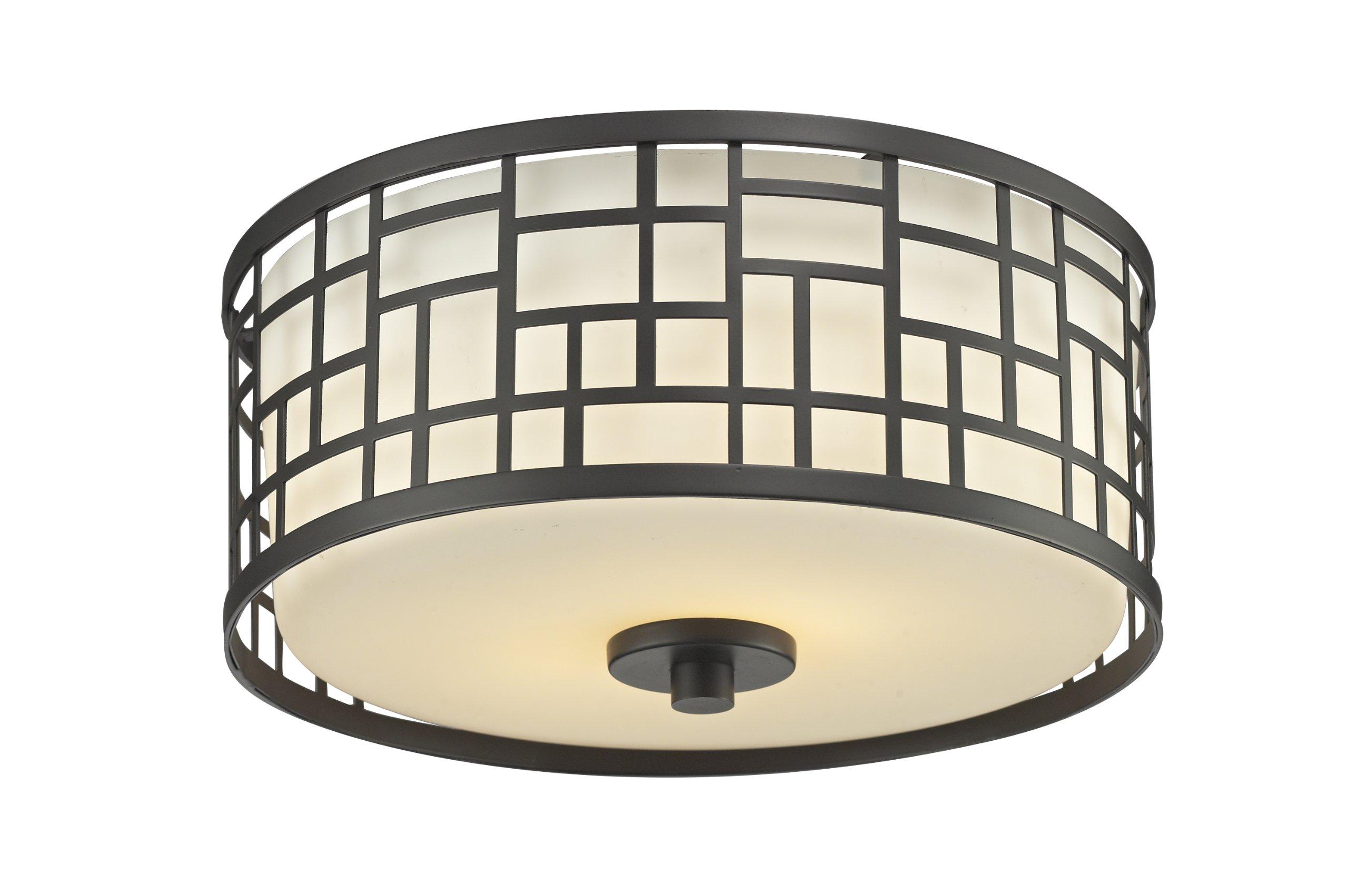 Z-Lite 329F12-BRZ 2-Light Flush Mount Light with Steel Material, Matte Opal