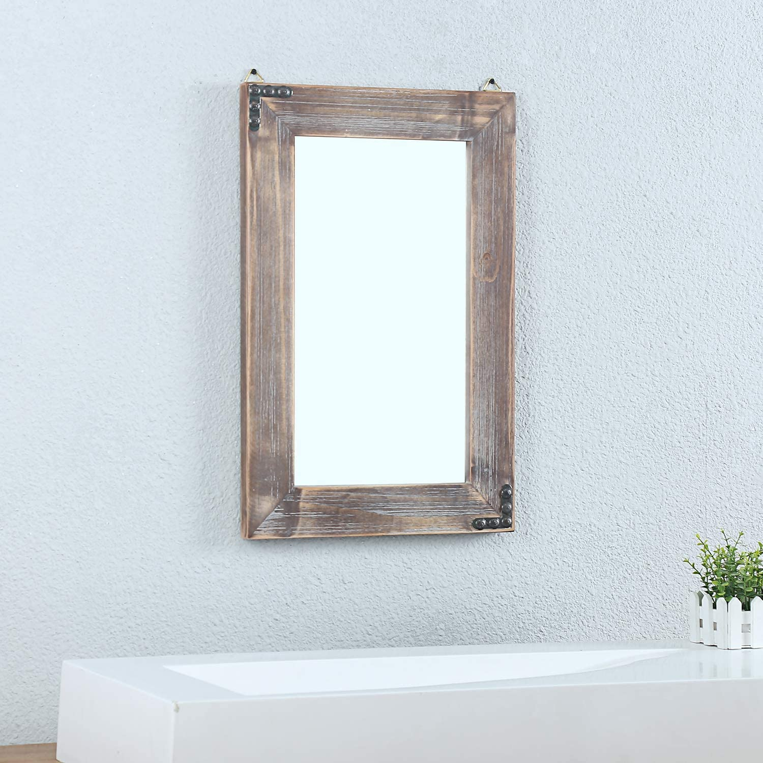 Amazon Com Womio Rustic Bathroom Mirrors For Wall 16 X 24 Wood Frame Hanging Decorative Wall Mirror Vanity Mirror Makeup Mirror Home Kitchen