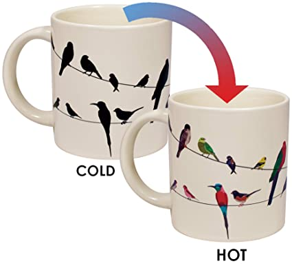 d602e2afe46 Amazon.com: Birds on a Wire Heat Changing Mug - Add Coffee or Tea and  Colorful Birds Appear - Comes in a Fun Gift Box: Kitchen & Dining