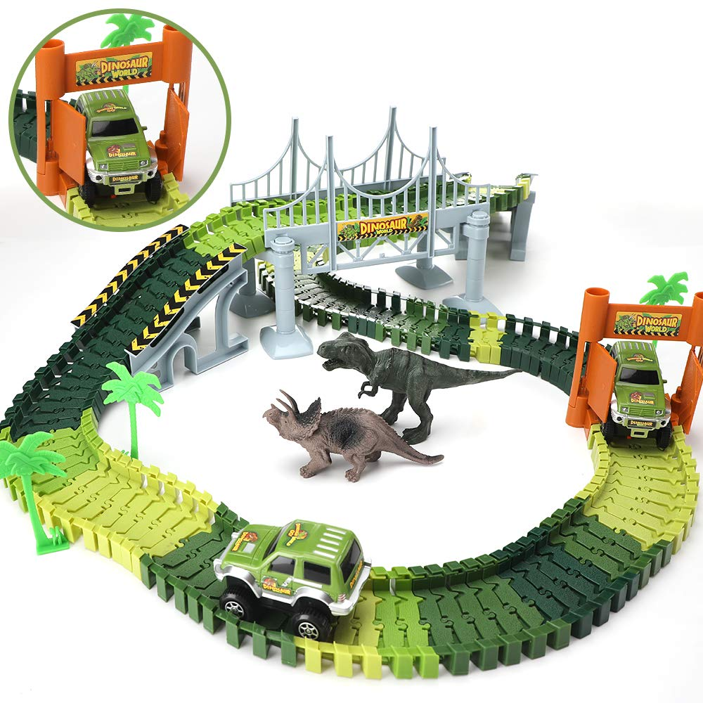 TOMETC Dinosaur Toys 192Pcs Race Car Create A Road Flexible Dinosaur Track and 2 Cars 3 Dinosaurs Dinosaur World Playset Perfect Birthday Toys for 3 4 5 6 Year Old Boys and Girls Kids by TOMETC