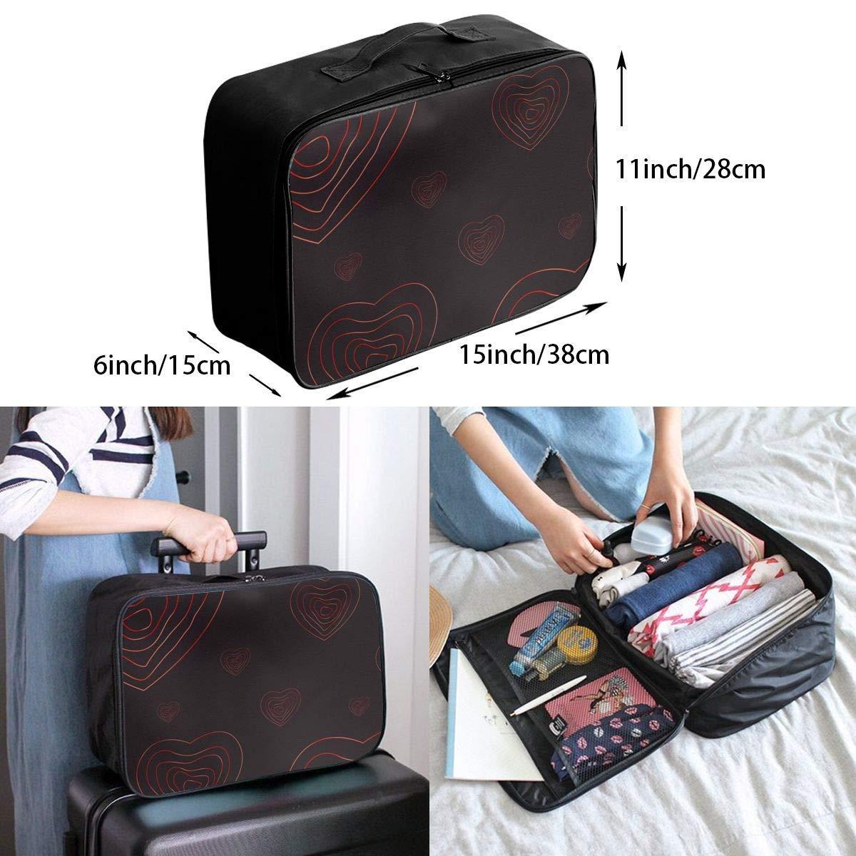 Love Heart Patterns JTRVW Luggage Bags for Travel Travel Duffel Bag Waterproof Fashion Lightweight Large Capacity Portable Duffel Bag for Men /& Women