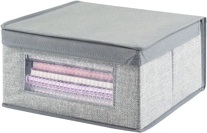 mDesign Organizadores de oficina y escritorio - Cajas organizadoras para lápices, anotadores y otros artículos - Caja para organizar con ventana transparente y mucho espacio de guardado - gris: Amazon.es: Hogar