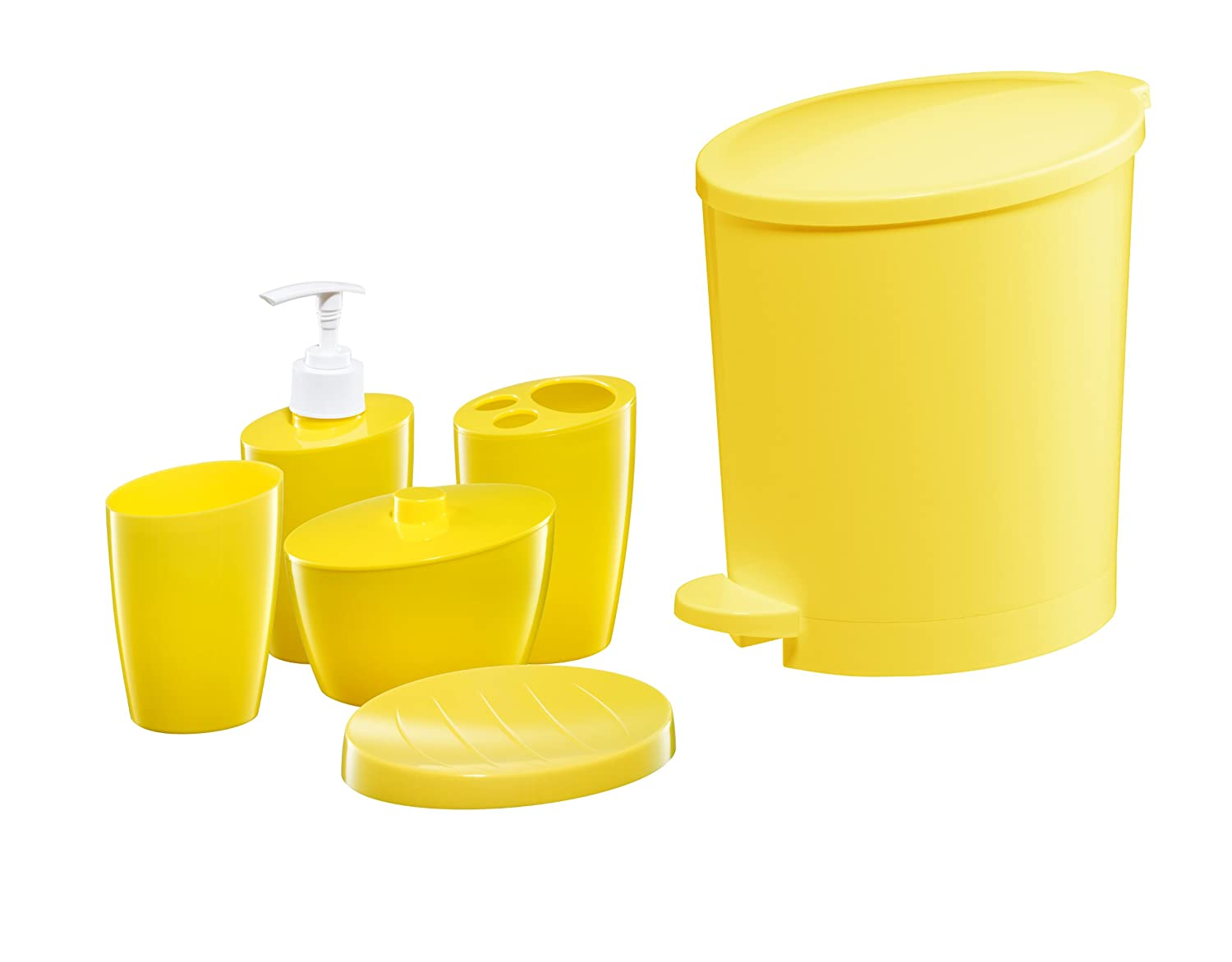 yellow bathroom accessories. Bisk 03312 POP Bin and Accessory Set  Yellow Amazon co uk Kitchen Home