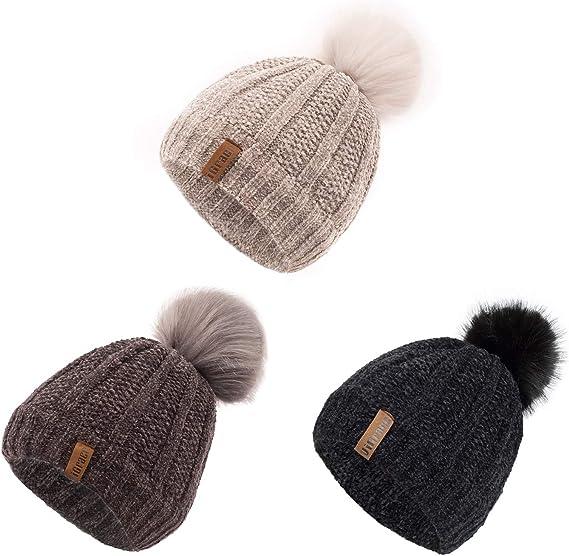 Toddler Infant Kids Baby Boy Girl Warm Pleuche Knotted Hat Beanie Headwear Cap