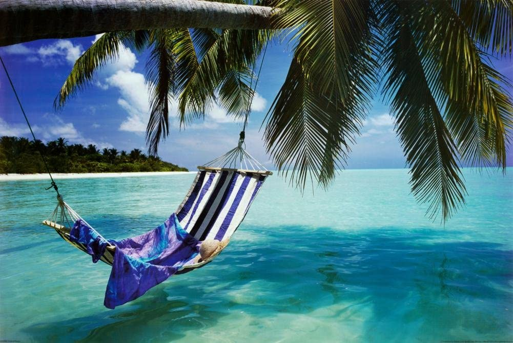 Amazon Com Tropical Beach Hammock Under Tree Huge Art Poster Print Giant Poster 54 X 39in Tropical Wall Poster Large Posters Prints