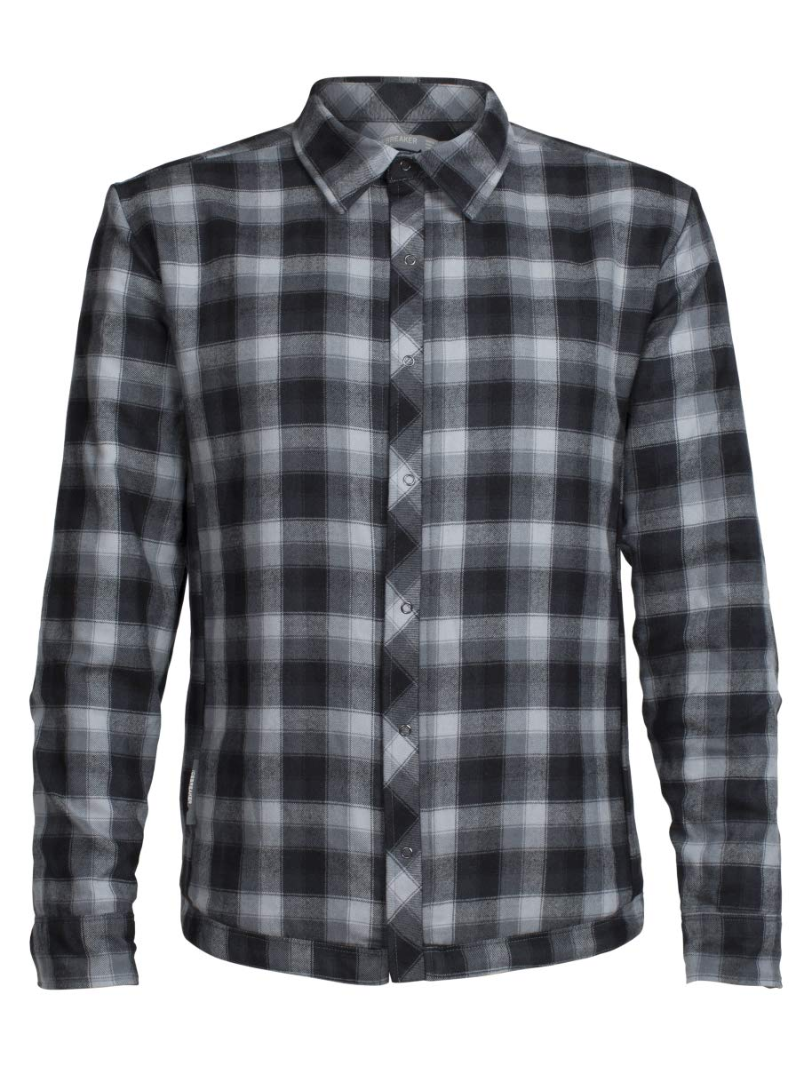 Icebreaker Merino Men's Helix Long Sleeve Shirt, Harmony/Gritstone Plaid, Medium