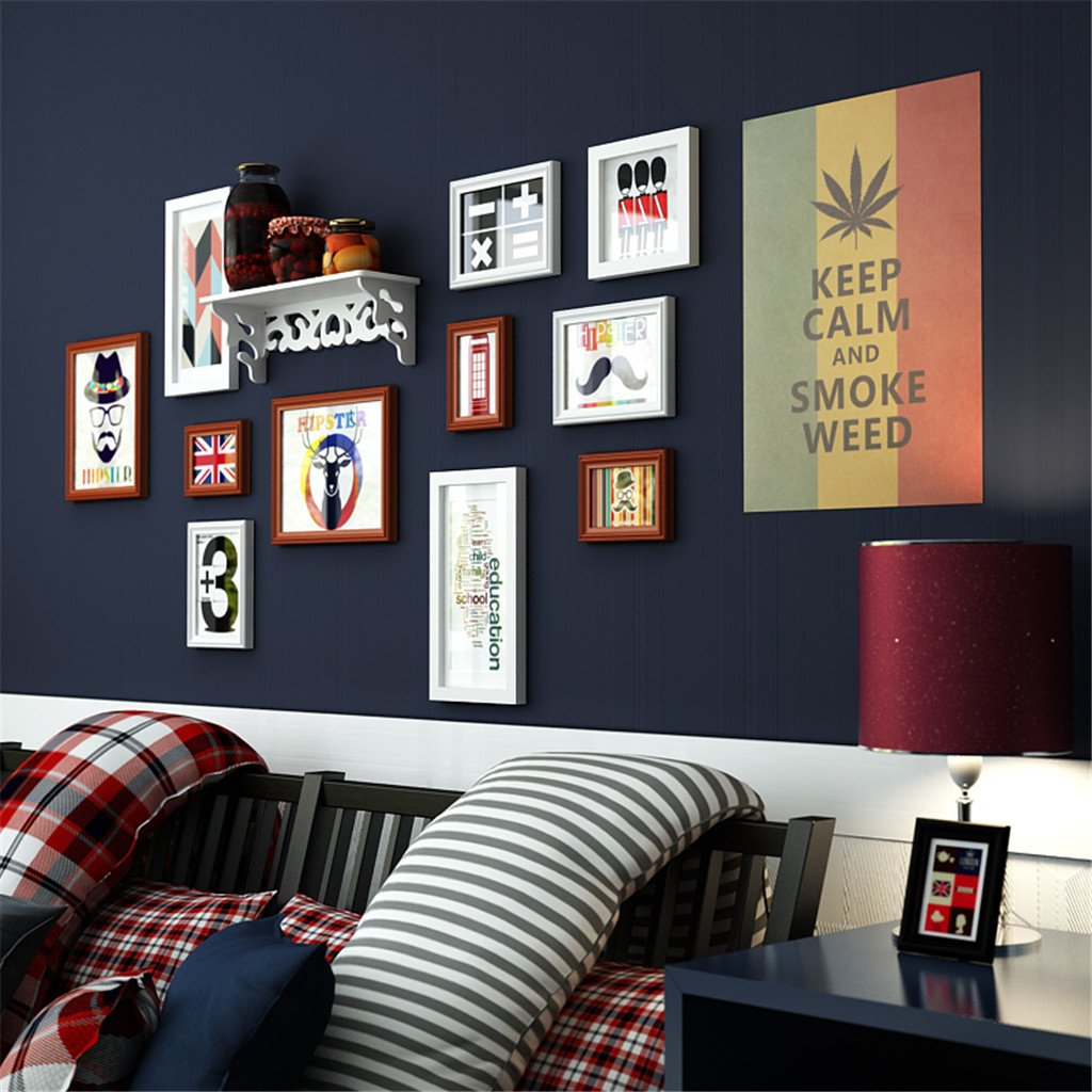Solid wood Photo frame Photo Wall decoration Simple Shelf personality Hanging wall combination sofa Photo wall -A