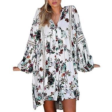Kleid Kurz Damen Sommerkleid V Ausschnitt Drucken Minikleid Spitze  Strandkleider HäKel Kleider Elegant Locker (Weiß c115ad48e2