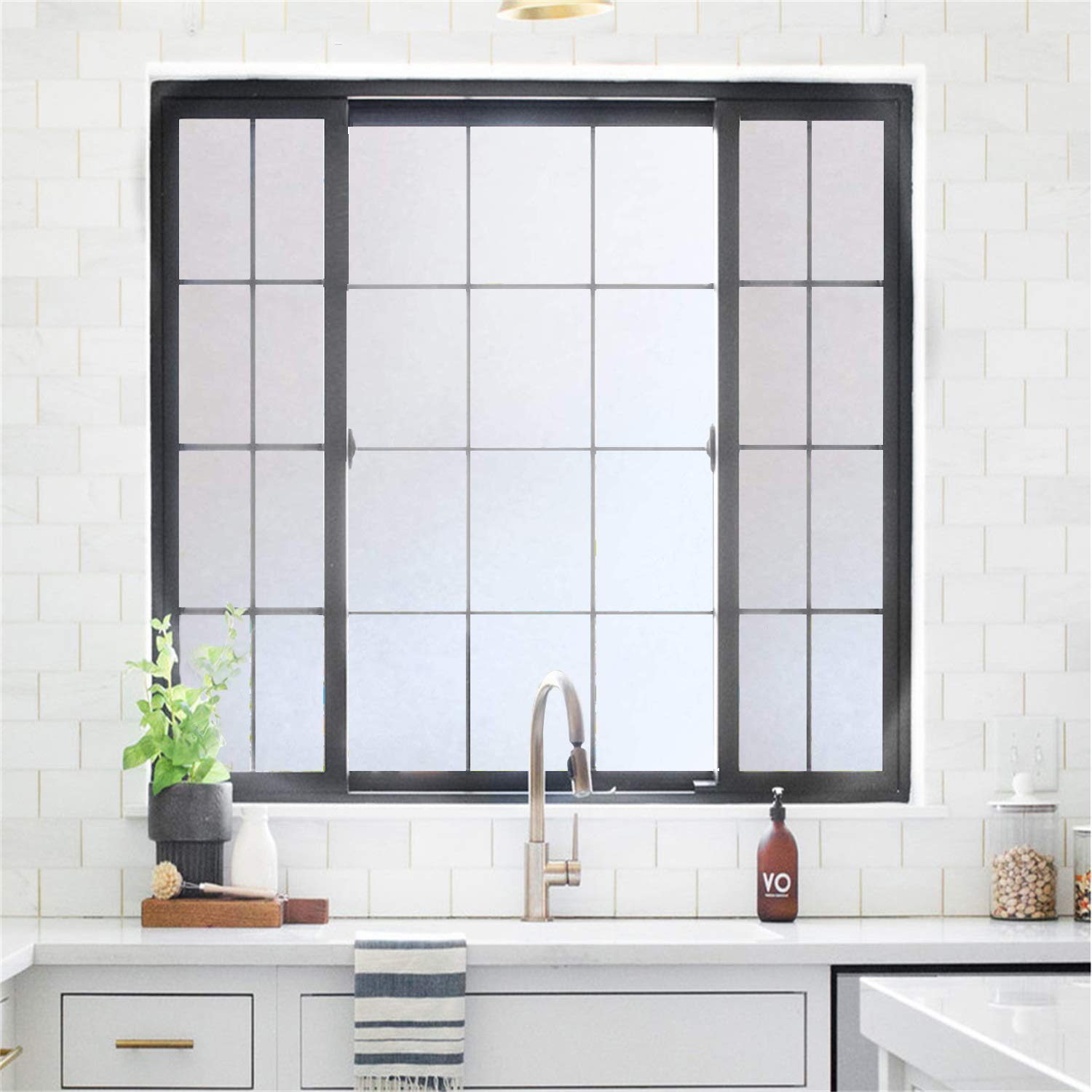 Rabbitgoo Privacy Window Film Frosted Film No Glue Anti-UV Window Sticker White Frosted Window Cling Non-Adhesive for Privacy Office Meeting Room Bathroom Bedroom Living Room 17.5 x 78.7