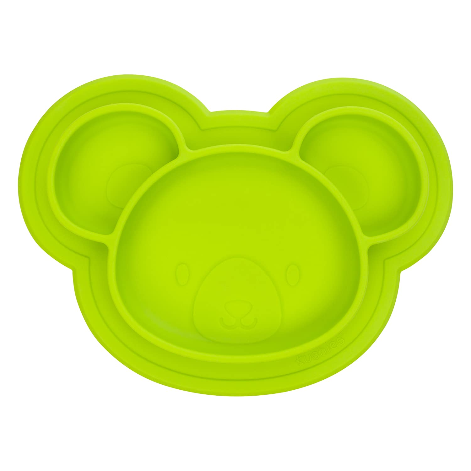 Kushies Baby SILIPLATE Silicone Divided Plate with Suction for Babies, Toddlers and Kids, Orange Bear BabyKidsBargains F100-N02