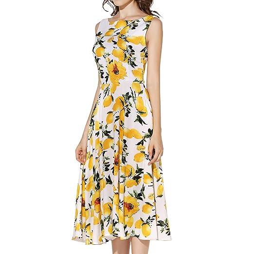 7ccf2e95a2 KIMILILY Women s Sleeveless Summer Lemon Printed Party Garden Swing Dresses  (XL
