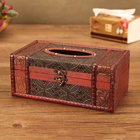 LCNINGZJH Bandeja de Madera de la Caja Vieja del Tejido del Vintage, Caja de Almacenamiento Creativa