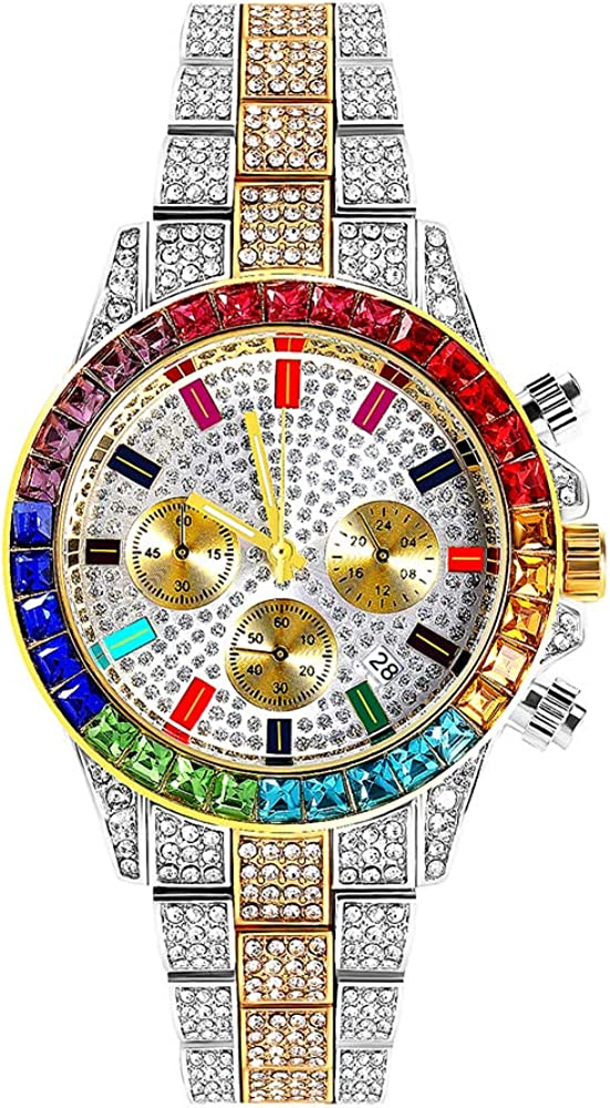 Reloj de Diamantes Hip Hop Reloj de Diamantes de Tres Ojos Iced out Pave Bling Reloj de Pulsera de Diamantes de Colores Calendario de Hombres Reloj de Pulsera de Cuarzo
