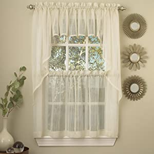 """Sweet Home Collection 5 Pc Kitchen Curtain Set-Valance Swag Choice of 24"""" or 36"""" Tier Pair, Harmony Ivory"""