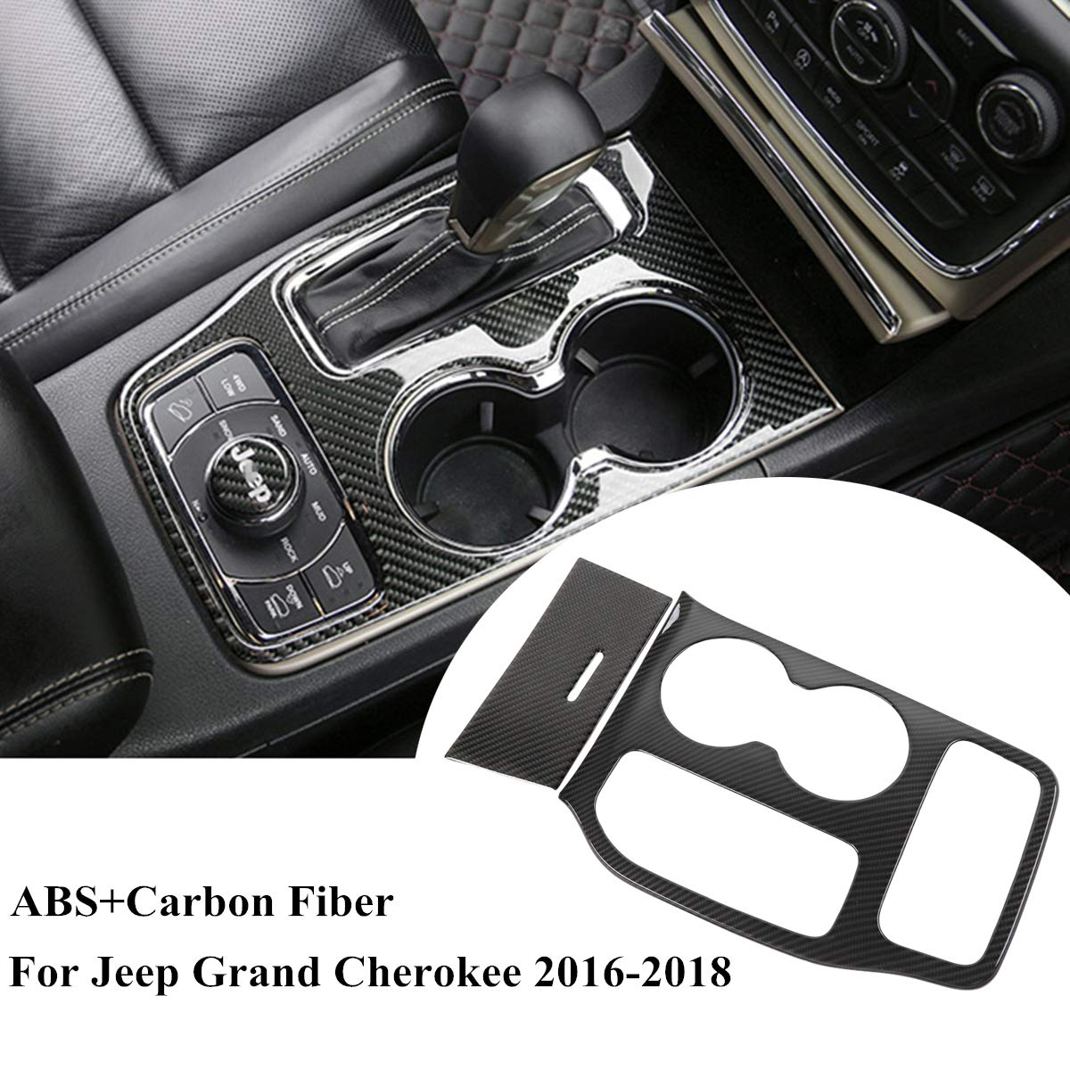 Real Carbon Fiber Water Cup Holder Cover Trim For Jeep Grand Cherokee 2016-2018