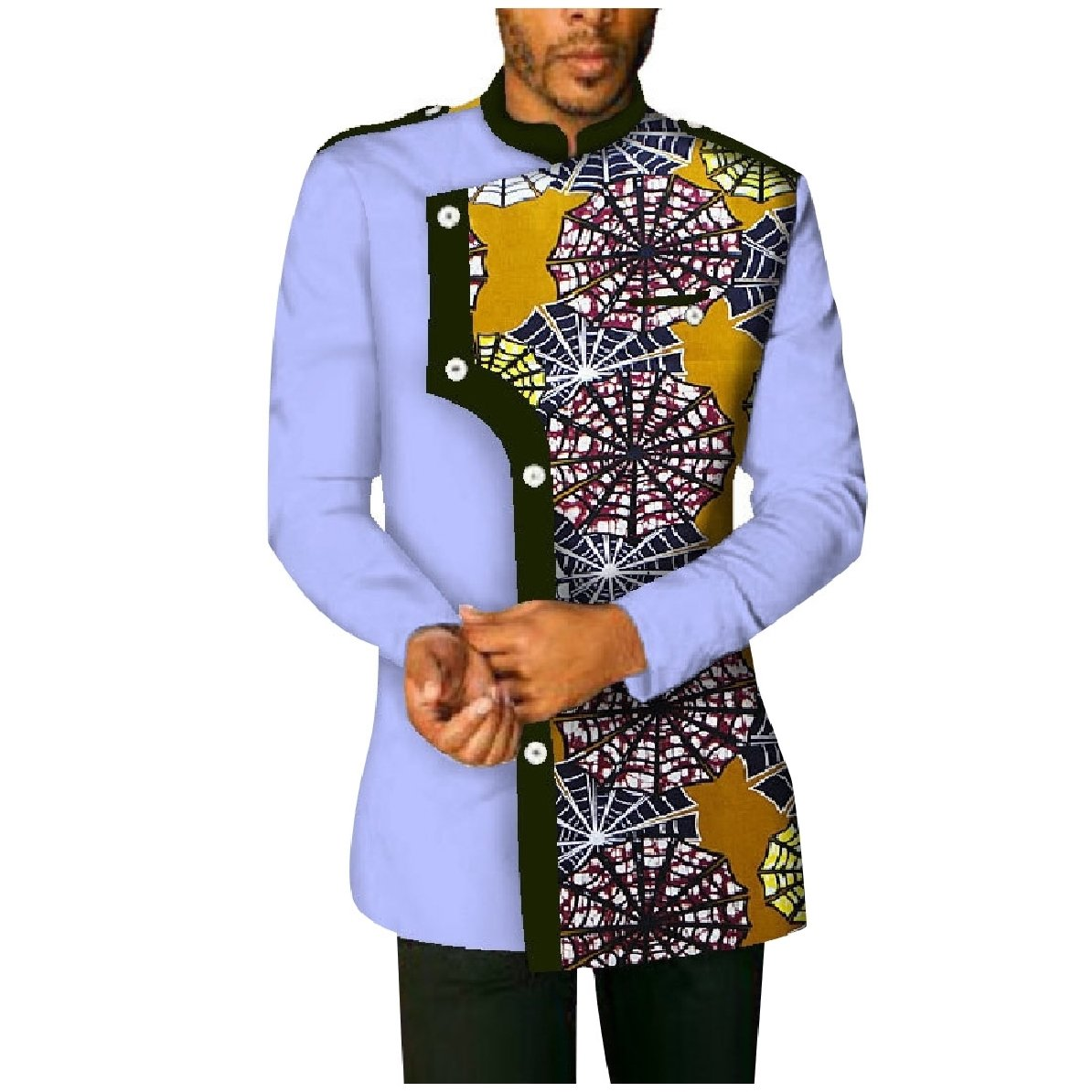 YUNY Mens Plus-Size Cotton African Printed Long-Sleeve Western Shirt Yellowish Brown XL