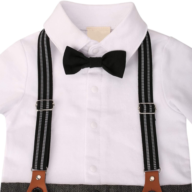 WESIDOM Baby Boy Suit Outfits Set 3pcs,Infant Tuxedo Long Sleeve Gentleman Wedding Jumpsuit /& Vest Coat /& Beret Hat